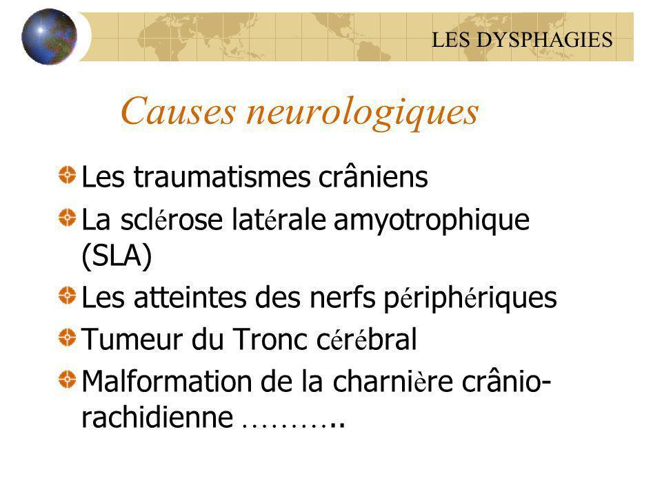 Causes neurologiques Les traumatismes crâniens La scl é rose lat é rale amyotrophique (SLA) Les atteintes des nerfs p é riph é riques Tumeur du Tronc