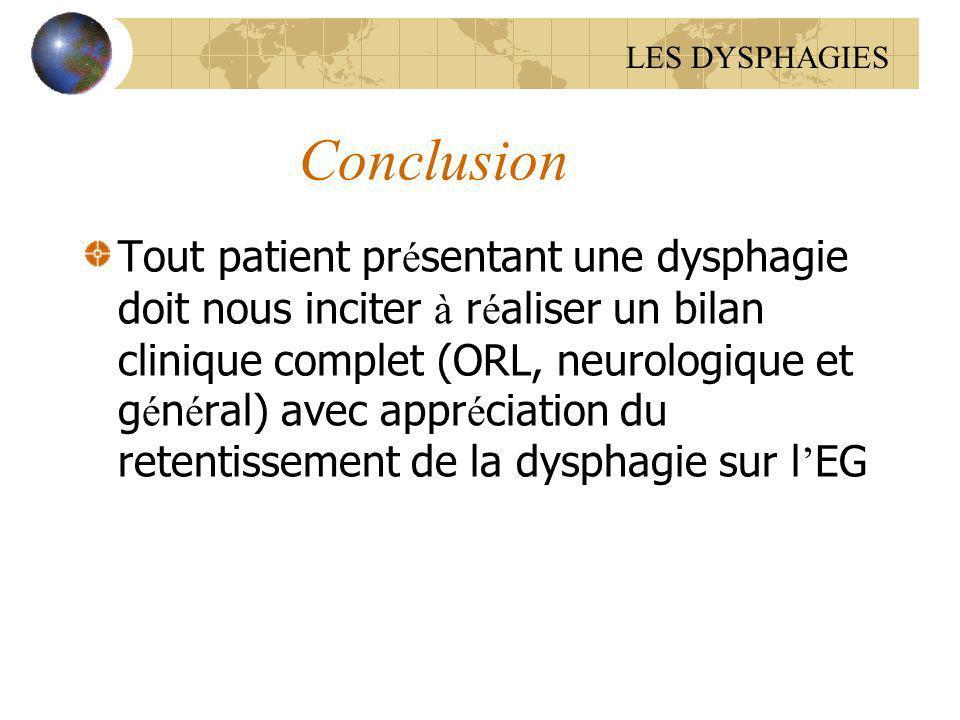 Conclusion Tout patient pr é sentant une dysphagie doit nous inciter à r é aliser un bilan clinique complet (ORL, neurologique et g é n é ral) avec ap