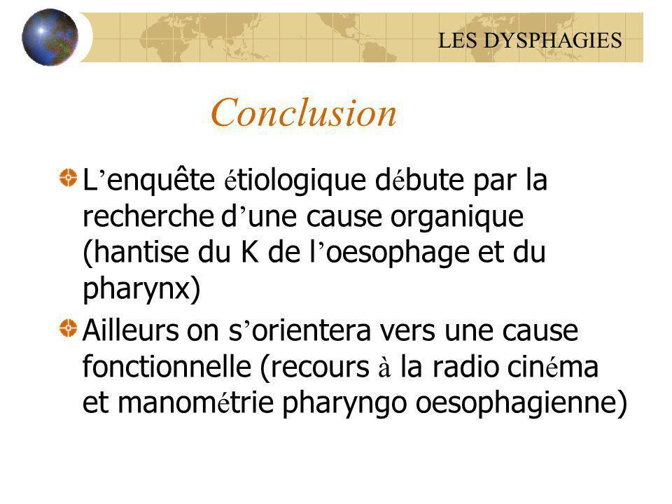 Conclusion L enquête é tiologique d é bute par la recherche d une cause organique (hantise du K de l oesophage et du pharynx) Ailleurs on s orientera