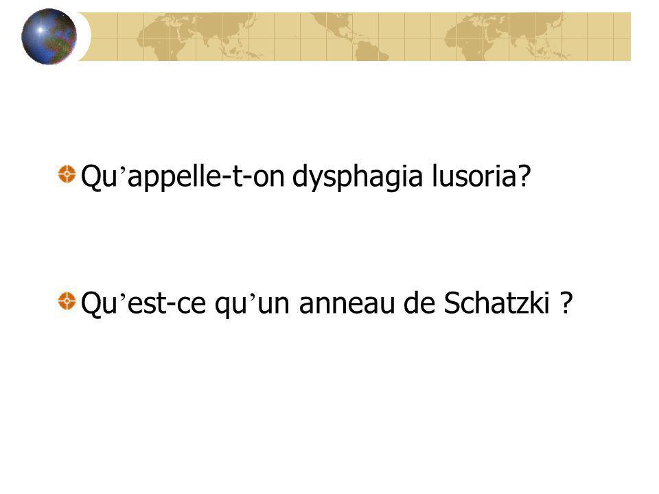 Qu appelle-t-on dysphagia lusoria? Qu est-ce qu un anneau de Schatzki ?
