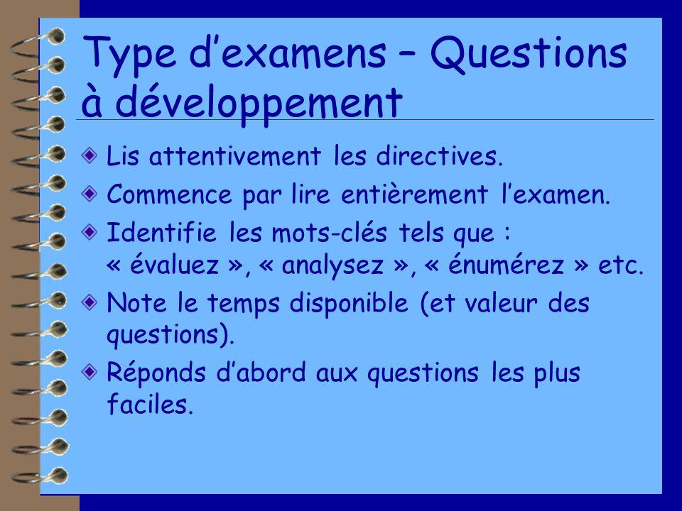 Type dexamens – Questions à développement Lis attentivement les directives.