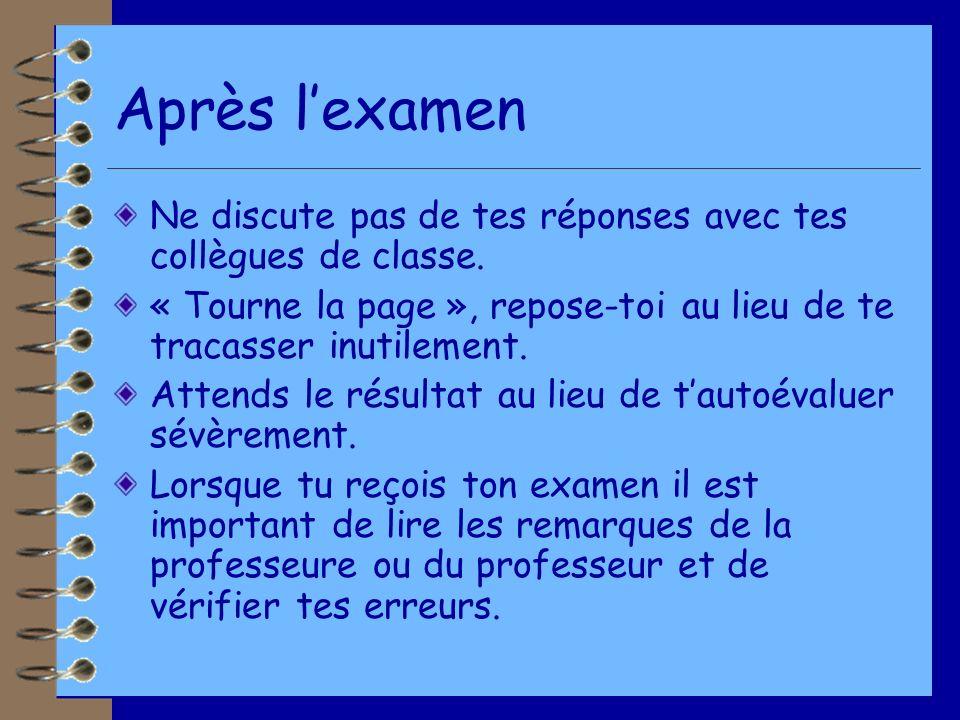Après lexamen Ne discute pas de tes réponses avec tes collègues de classe.