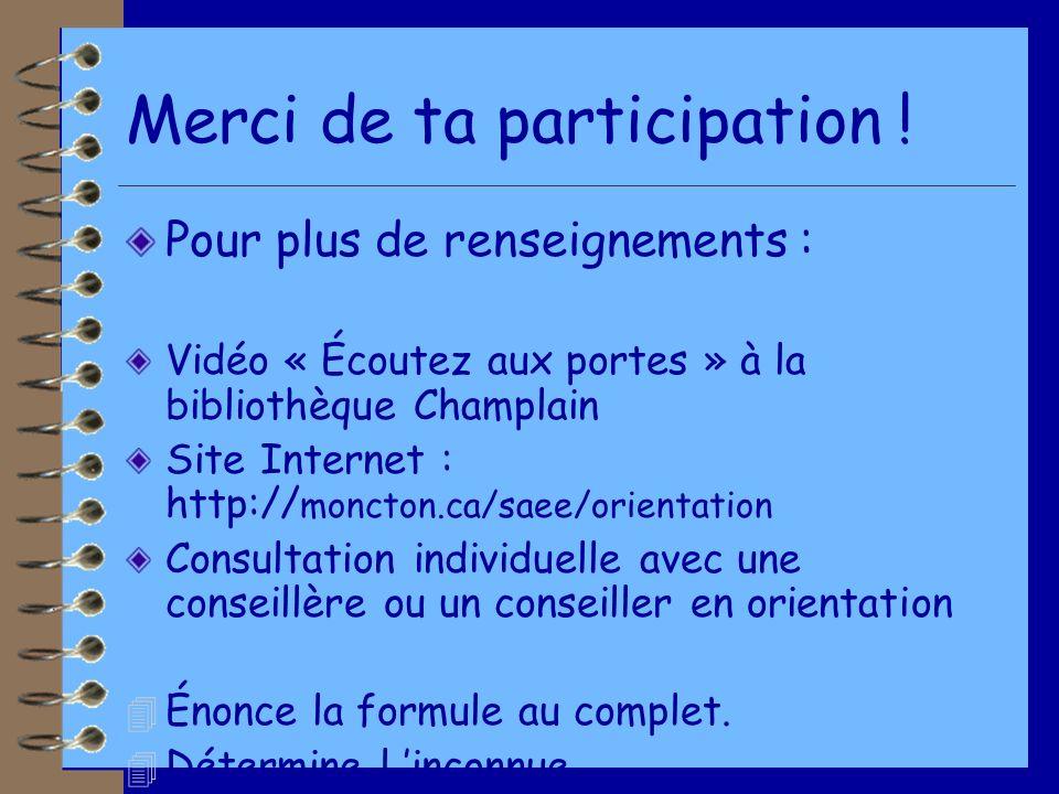 Merci de ta participation ! Pour plus de renseignements : Vidéo « Écoutez aux portes » à la bibliothèque Champlain Site Internet : http:// moncton.ca/