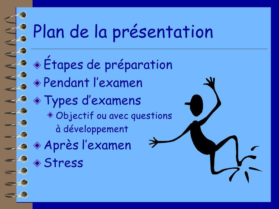 Plan de la présentation Étapes de préparation Pendant lexamen Types dexamens Objectif ou avec questions à développement Après lexamen Stress