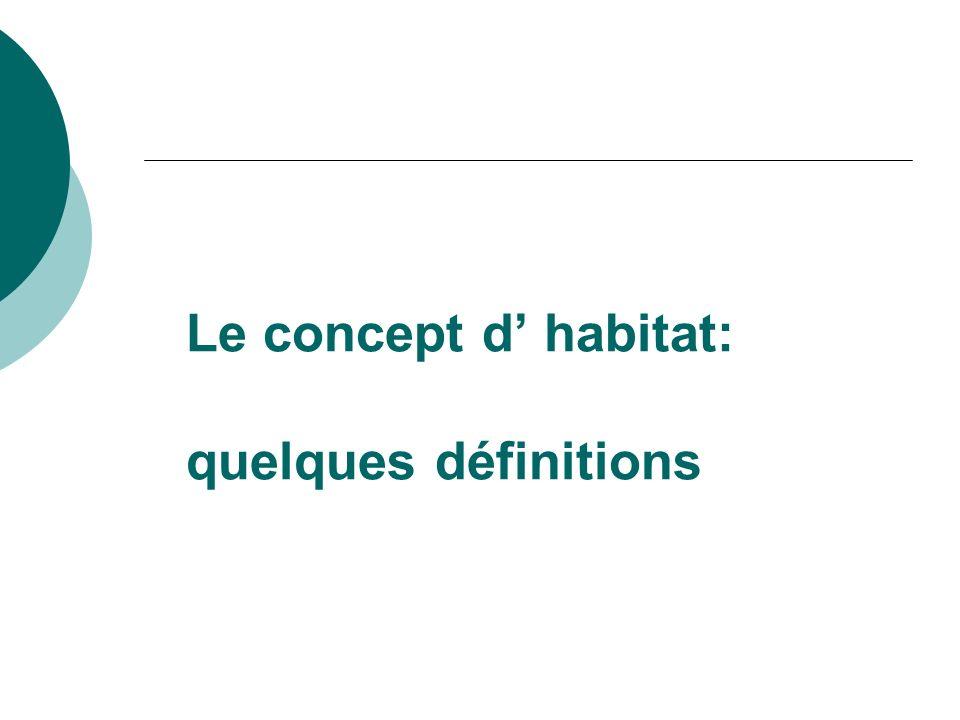 Le concept d habitat: quelques définitions