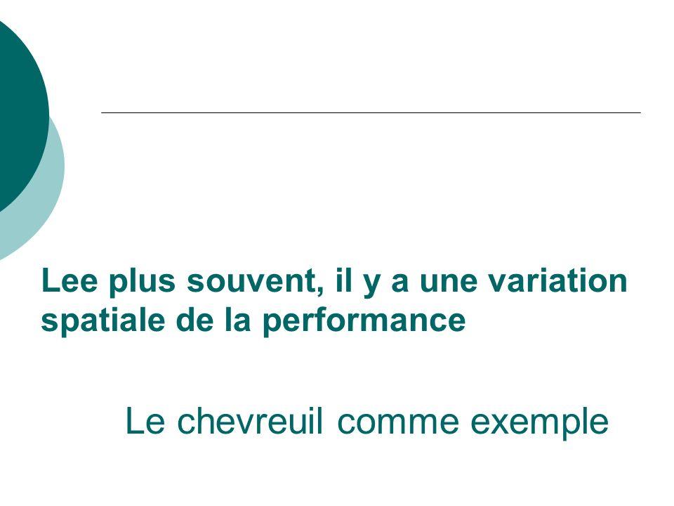 Lee plus souvent, il y a une variation spatiale de la performance Le chevreuil comme exemple