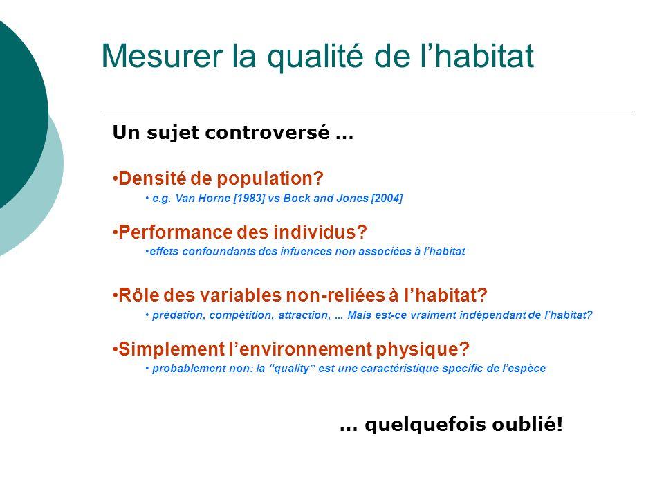 Mesurer la qualité de lhabitat Densité de population? e.g. Van Horne [1983] vs Bock and Jones [2004] Performance des individus? effets confoundants de