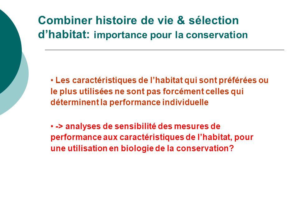 Combiner histoire de vie & sélection dhabitat: importance pour la conservation Les caractéristiques de lhabitat qui sont préférées ou le plus utilisée