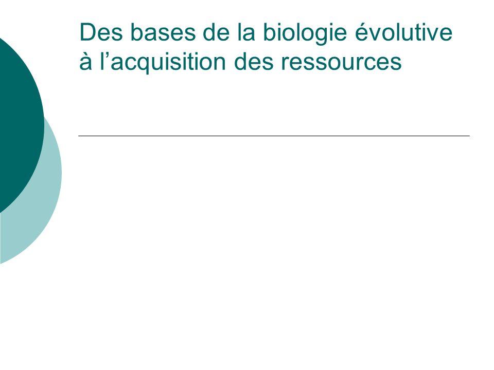 Des bases de la biologie évolutive à lacquisition des ressources