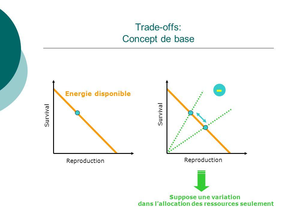 « Trade-offs »: Concept de base - + Van Noordwjick & De Jong 1986 Reproduction Survival Reproduction + Suppose une variation dans lacquisition des ressources seulement