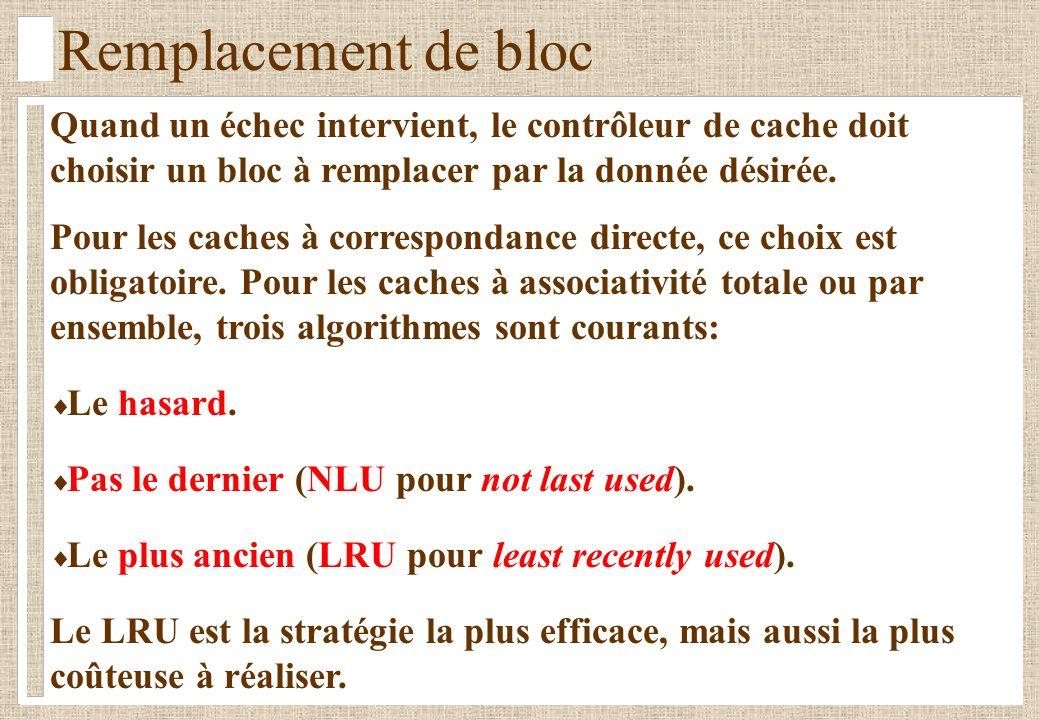 Remplacement de bloc Quand un échec intervient, le contrôleur de cache doit choisir un bloc à remplacer par la donnée désirée.