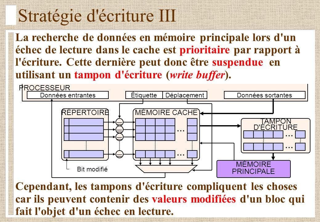 Stratégie d écriture III La recherche de données en mémoire principale lors d un échec de lecture dans le cache est prioritaire par rapport à l écriture.