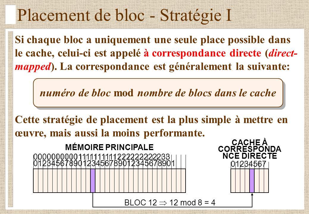 Placement de bloc - Stratégie I Si chaque bloc a uniquement une seule place possible dans le cache, celui-ci est appelé à correspondance directe (direct- mapped).