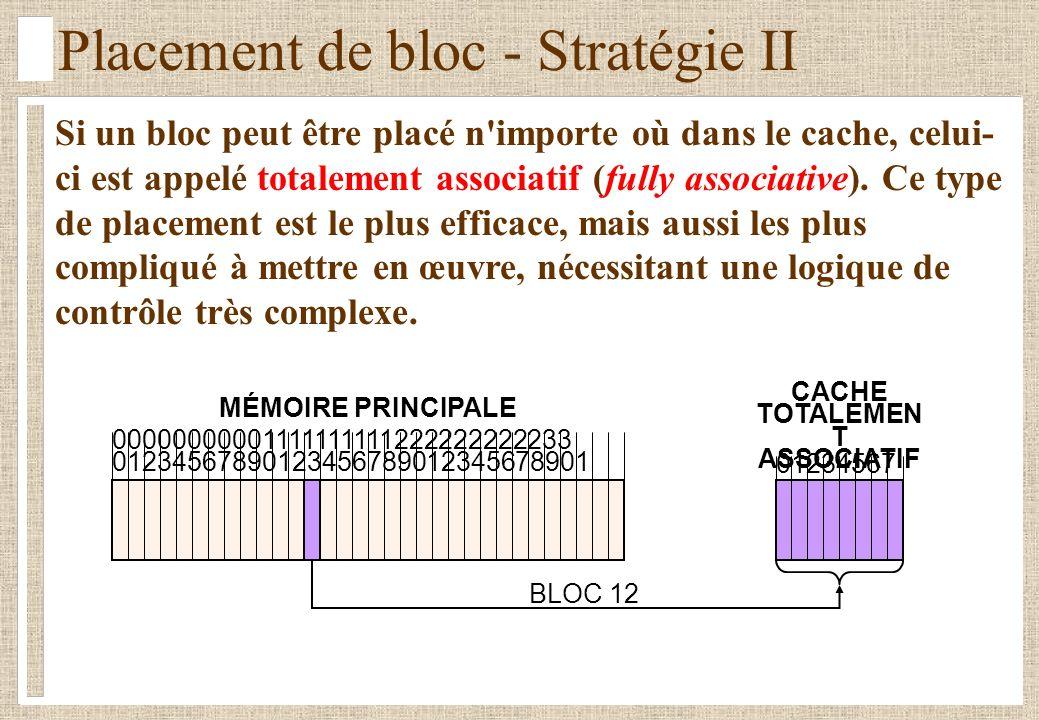 Placement de bloc - Stratégie II Si un bloc peut être placé n'importe où dans le cache, celui- ci est appelé totalement associatif (fully associative)