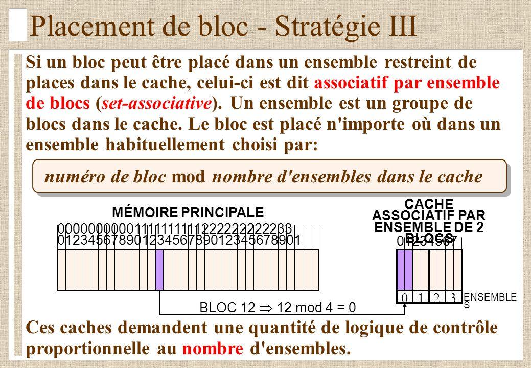 Placement de bloc - Stratégie III Si un bloc peut être placé dans un ensemble restreint de places dans le cache, celui-ci est dit associatif par ensemble de blocs (set-associative).