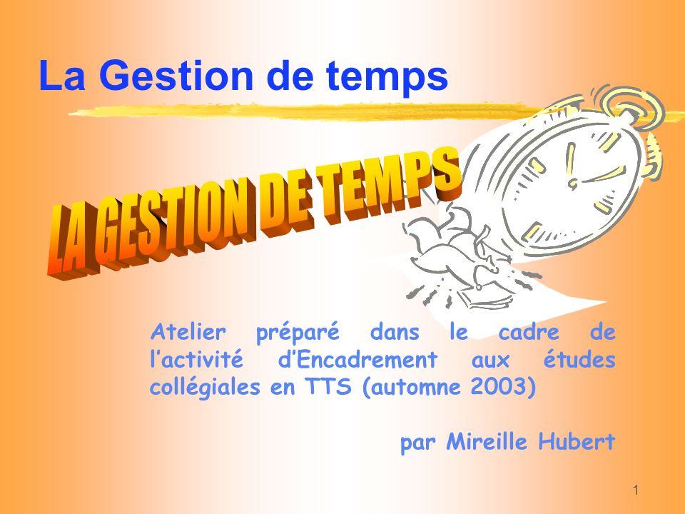 1 Atelier préparé dans le cadre de lactivité dEncadrement aux études collégiales en TTS (automne 2003) par Mireille Hubert La Gestion de temps