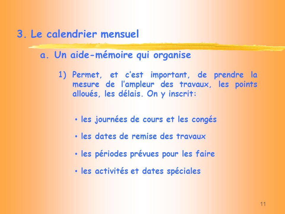 11 3.Le calendrier mensuel a.Un aide-mémoire qui organise les journées de cours et les congés 1)Permet, et cest important, de prendre la mesure de lam