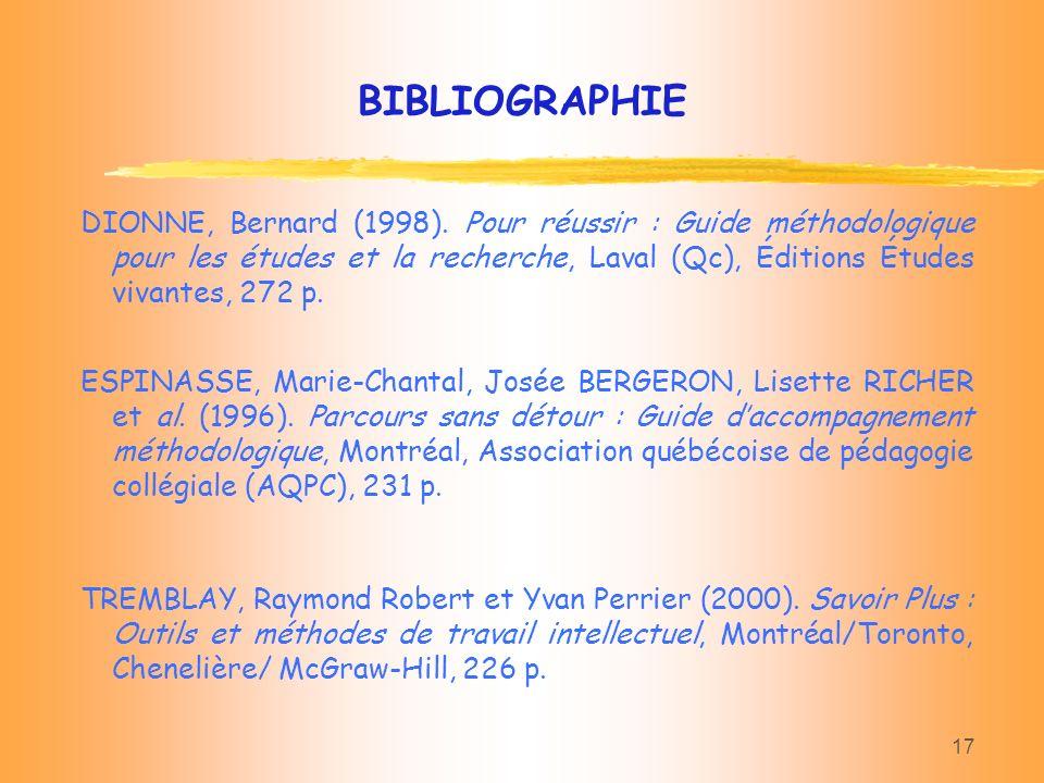 17 DIONNE, Bernard (1998). Pour réussir : Guide méthodologique pour les études et la recherche, Laval (Qc), Éditions Études vivantes, 272 p. BIBLIOGRA