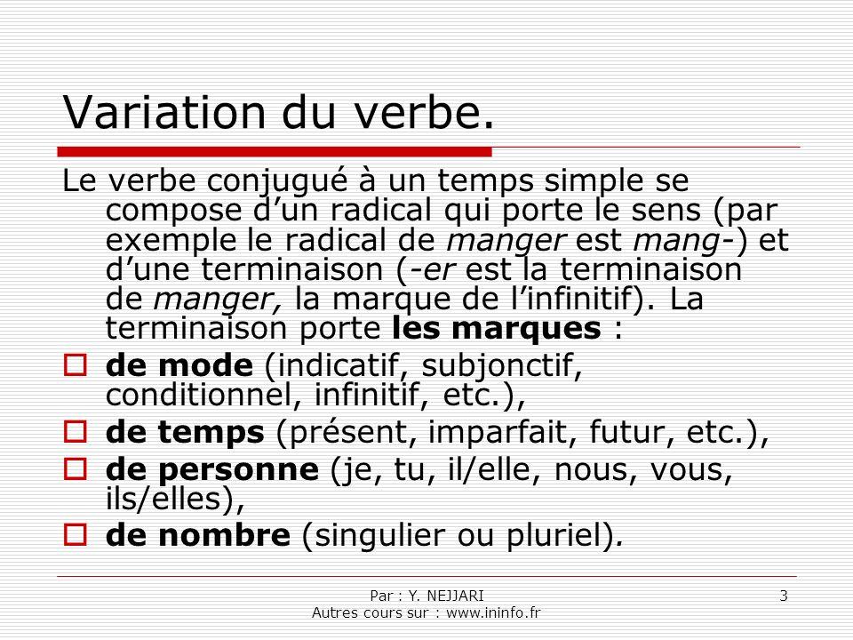 Par : Y.NEJJARI Autres cours sur : www.ininfo.fr 3 Variation du verbe.