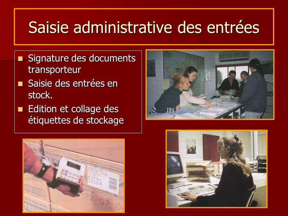 Saisie administrative des entrées Signature des documents transporteur Signature des documents transporteur Saisie des entrées en stock. Saisie des en