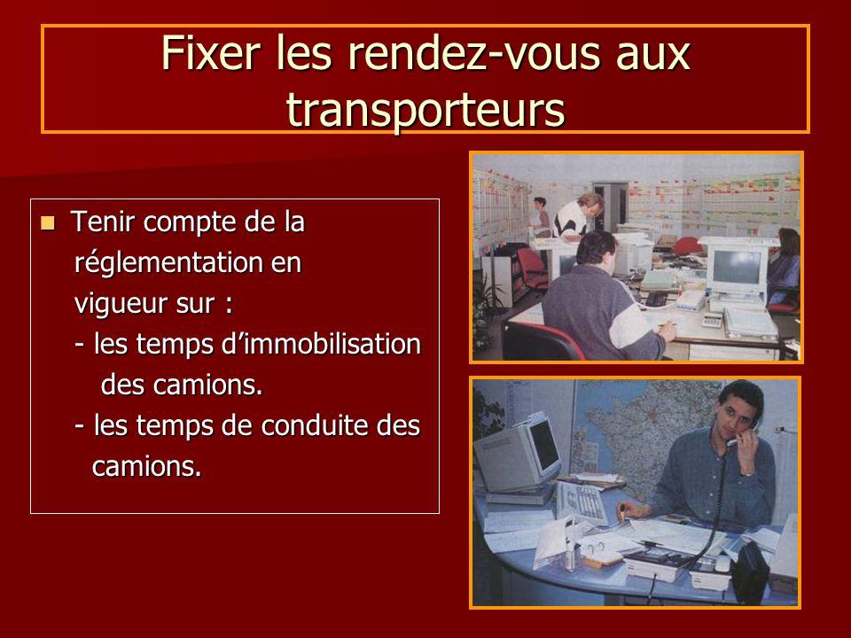Fixer les rendez-vous aux transporteurs Tenir compte de la Tenir compte de la réglementation en réglementation en vigueur sur : vigueur sur : - les te