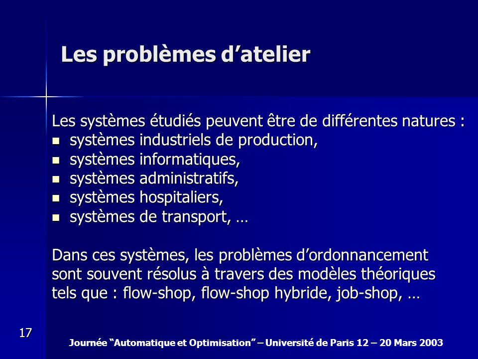 Journée Automatique et Optimisation – Université de Paris 12 – 20 Mars 2003 17 Les problèmes datelier Les systèmes étudiés peuvent être de différentes