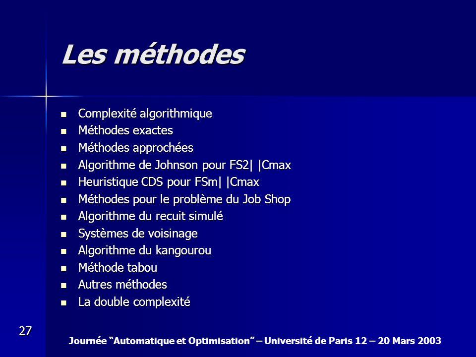 Journée Automatique et Optimisation – Université de Paris 12 – 20 Mars 2003 27 Les méthodes Complexité algorithmique Complexité algorithmique Méthodes