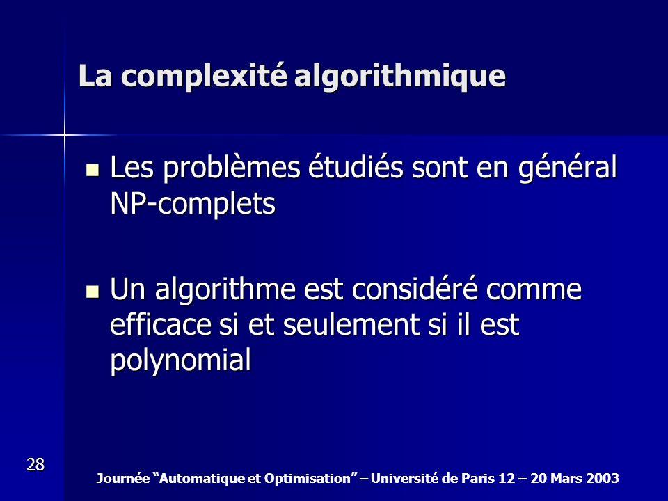 Journée Automatique et Optimisation – Université de Paris 12 – 20 Mars 2003 28 La complexité algorithmique Les problèmes étudiés sont en général NP-co