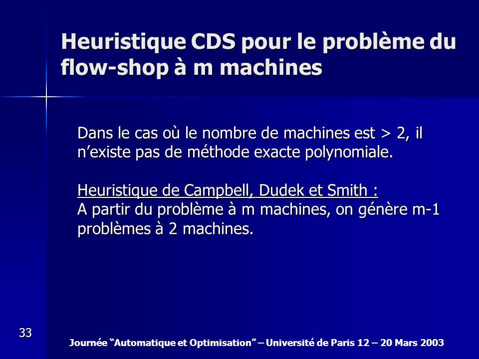Journée Automatique et Optimisation – Université de Paris 12 – 20 Mars 2003 33 Heuristique CDS pour le problème du flow-shop à m machines Dans le cas