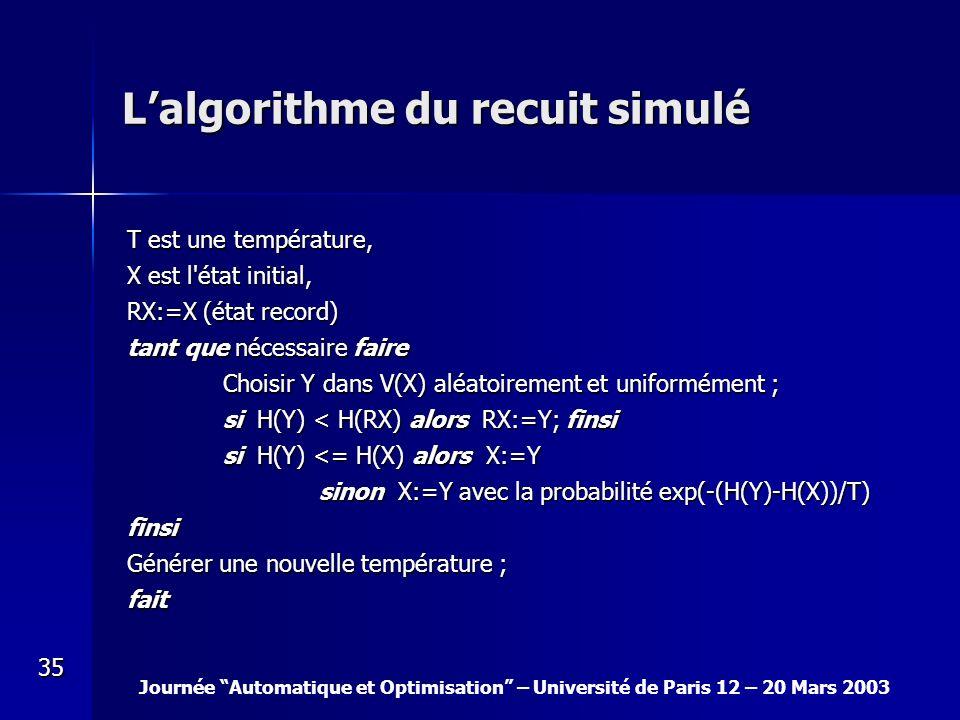 Journée Automatique et Optimisation – Université de Paris 12 – 20 Mars 2003 35 Lalgorithme du recuit simulé T est une température, X est l'état initia