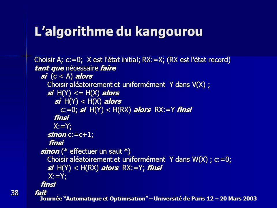 Journée Automatique et Optimisation – Université de Paris 12 – 20 Mars 2003 38 Lalgorithme du kangourou Choisir A; c:=0; X est l'état initial; RX:=X;