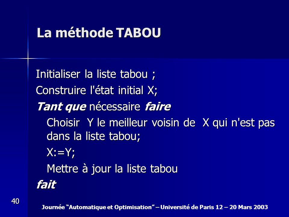 Journée Automatique et Optimisation – Université de Paris 12 – 20 Mars 2003 40 La méthode TABOU Initialiser la liste tabou ; Construire l'état initial