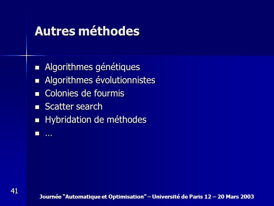 Journée Automatique et Optimisation – Université de Paris 12 – 20 Mars 2003 41 Autres méthodes Algorithmes génétiques Algorithmes génétiques Algorithm