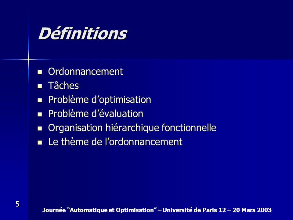 Journée Automatique et Optimisation – Université de Paris 12 – 20 Mars 2003 5 Définitions Ordonnancement Ordonnancement Tâches Tâches Problème doptimi