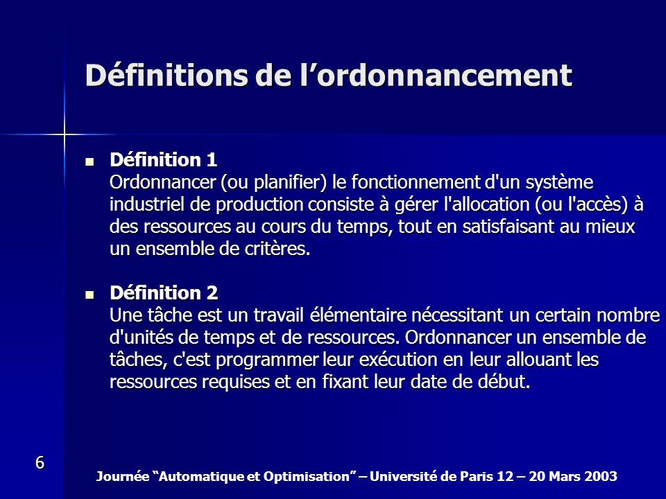 Journée Automatique et Optimisation – Université de Paris 12 – 20 Mars 2003 6 Définitions de lordonnancement Définition 1 Ordonnancer (ou planifier) l