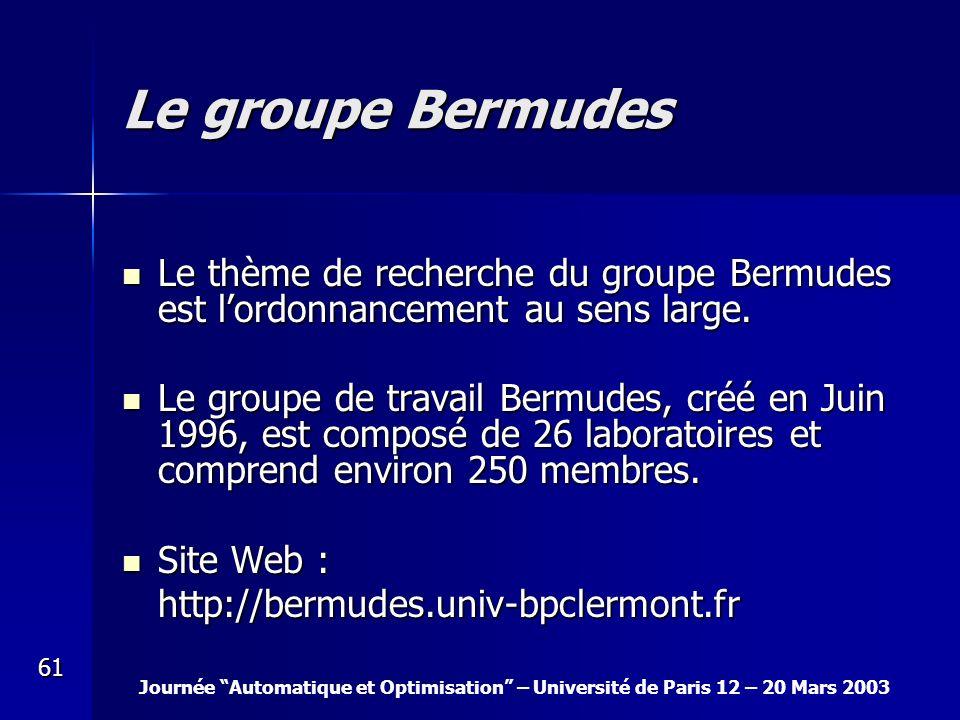 Journée Automatique et Optimisation – Université de Paris 12 – 20 Mars 2003 61 Le groupe Bermudes Le thème de recherche du groupe Bermudes est lordonn