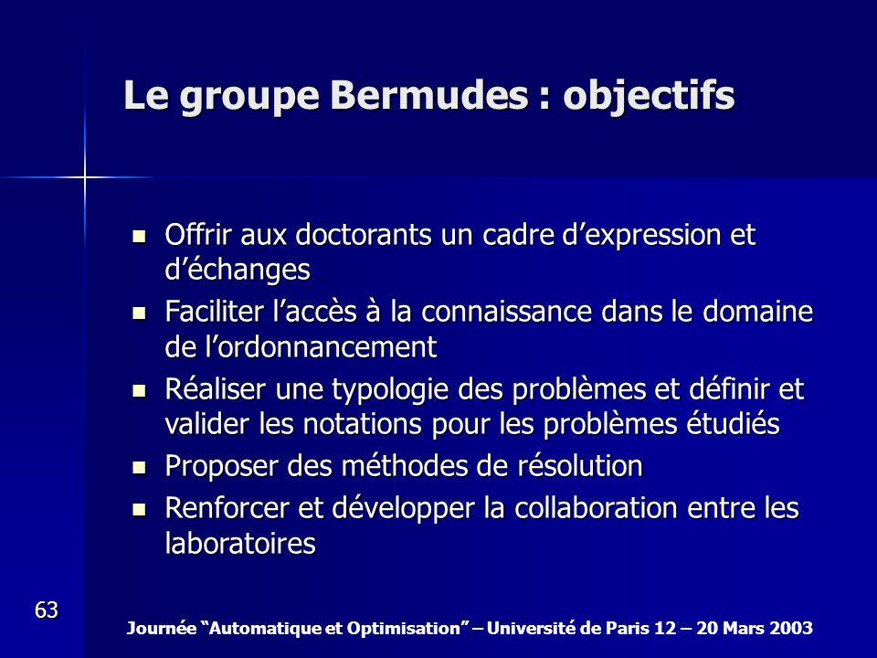 Journée Automatique et Optimisation – Université de Paris 12 – 20 Mars 2003 63 Le groupe Bermudes : objectifs Offrir aux doctorants un cadre dexpressi