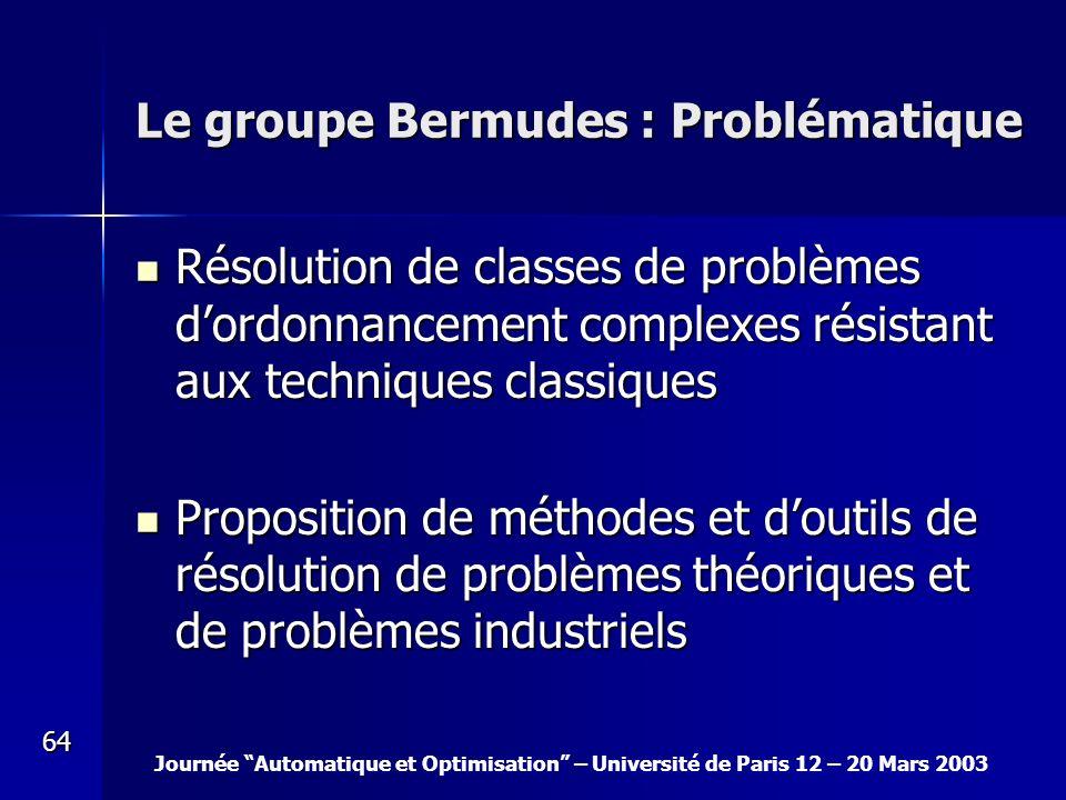 Journée Automatique et Optimisation – Université de Paris 12 – 20 Mars 2003 64 Le groupe Bermudes : Problématique Résolution de classes de problèmes d