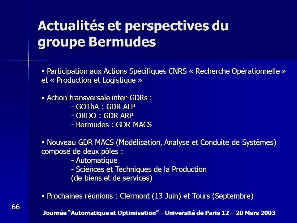Journée Automatique et Optimisation – Université de Paris 12 – 20 Mars 2003 66 Actualités et perspectives du groupe Bermudes Participation aux Actions