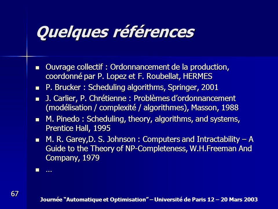 Journée Automatique et Optimisation – Université de Paris 12 – 20 Mars 2003 67 Quelques références Ouvrage collectif : Ordonnancement de la production