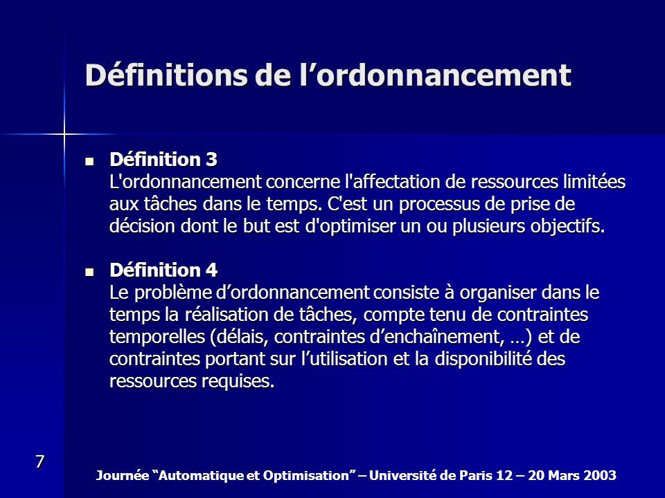 Journée Automatique et Optimisation – Université de Paris 12 – 20 Mars 2003 7 Définitions de lordonnancement Définition 3 Définition 3 L'ordonnancemen