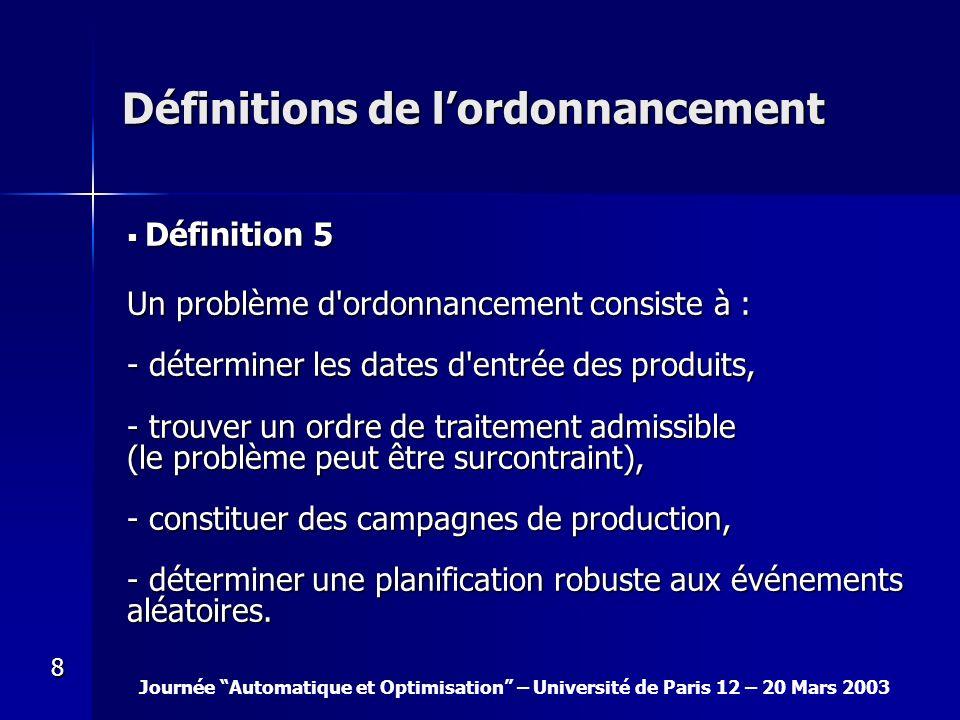Journée Automatique et Optimisation – Université de Paris 12 – 20 Mars 2003 8 Définitions de lordonnancement Définition 5 Définition 5 Un problème d'o