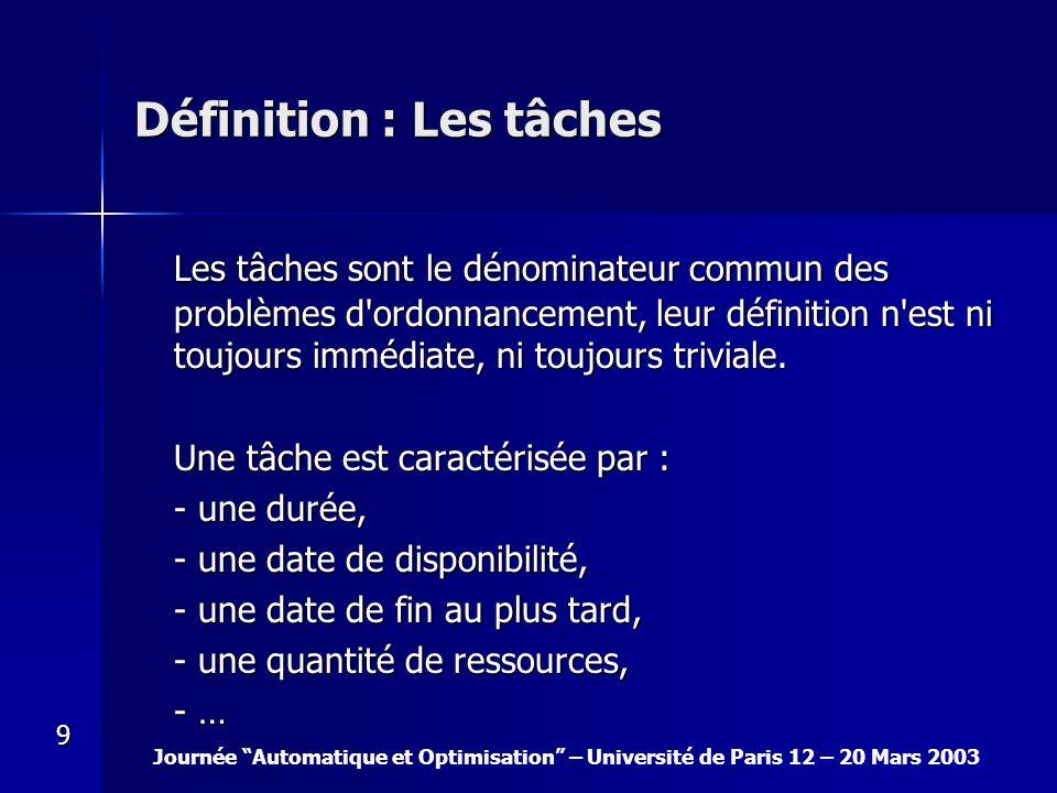 Journée Automatique et Optimisation – Université de Paris 12 – 20 Mars 2003 9 Définition : Les tâches Les tâches sont le dénominateur commun des probl