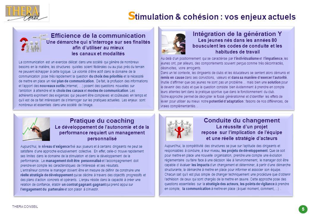 5 THERA CONSEIL S timulation & cohésion : vos enjeux actuels Conduite du changement La réussite dun projet repose sur limplication de léquipe et une r