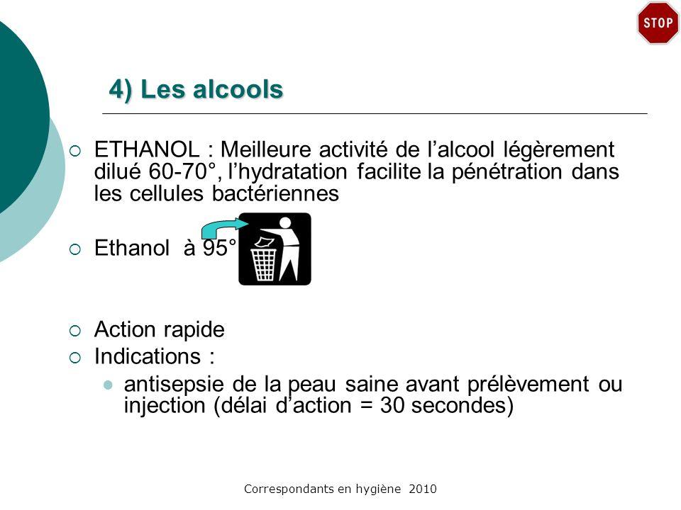 Correspondants en hygiène 2010 4) Les alcools ETHANOL : Meilleure activité de lalcool légèrement dilué 60-70°, lhydratation facilite la pénétration da