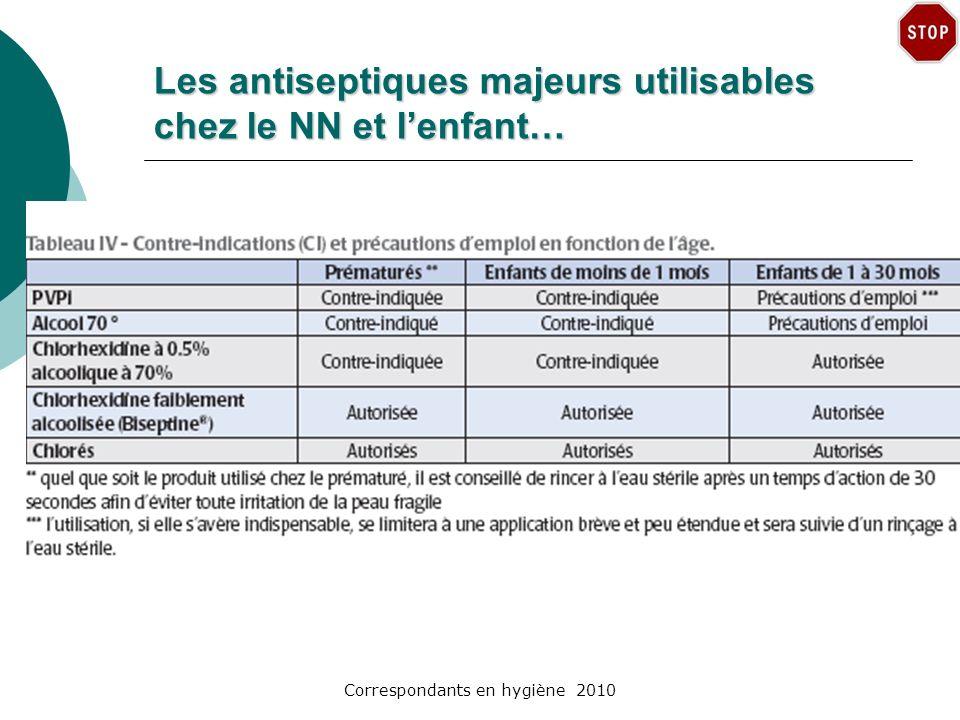 Correspondants en hygiène 2010 Les antiseptiques majeurs utilisables chez le NN et lenfant…