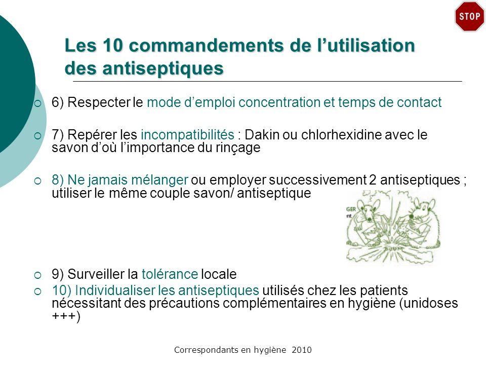 Correspondants en hygiène 2010 Les 10 commandements de lutilisation des antiseptiques 6) Respecter le mode demploi concentration et temps de contact 7