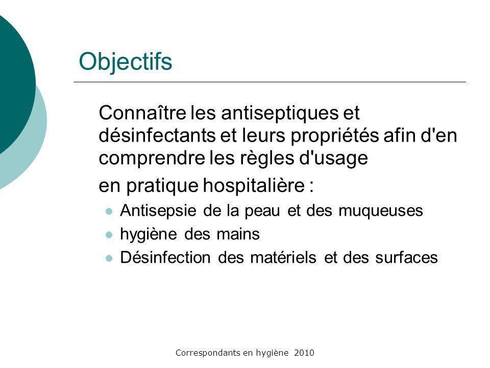 Correspondants en hygiène 2010 V- Les associations dantiseptiques Biseptine Biseptine Chlorhexidine (0.25%) + Chlorure de benzalkonium (0.025%) + alcool Benzylique (4%) Flacons de 40ml et 500ml + Spray de 100 ml Indications : antisepsie des plaies chirurgicale et traumatiques peu profondes Antisepsie de la peau du champ opératoire Préconisée ++ par le guide de la SFHH (soins du cordon + autres) Contre-indication : celle de la chlorhexidine