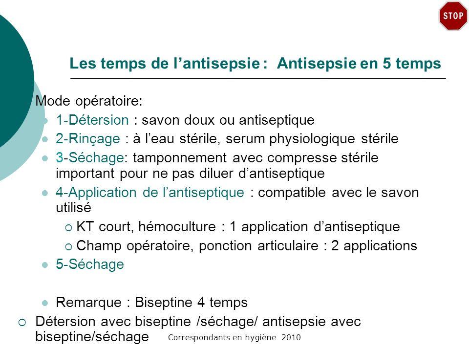Correspondants en hygiène 2010 Les temps de lantisepsie : Antisepsie en 5 temps Mode opératoire: 1-Détersion : savon doux ou antiseptique 2-Rinçage :