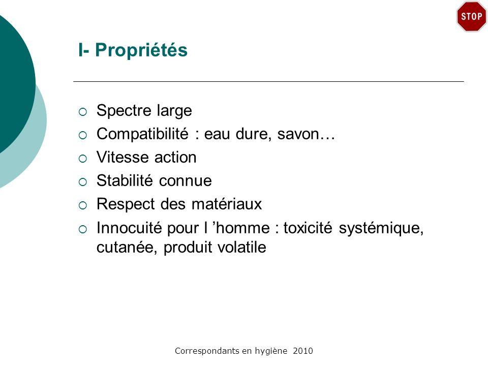 Correspondants en hygiène 2010 I- Propriétés Spectre large Compatibilité : eau dure, savon… Vitesse action Stabilité connue Respect des matériaux Inno